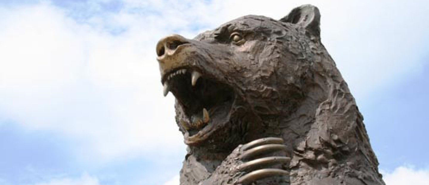 image of a large bear statue's head outside