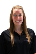 A head shot of Ashley Sweeney in a black Oakland University polo shirt.