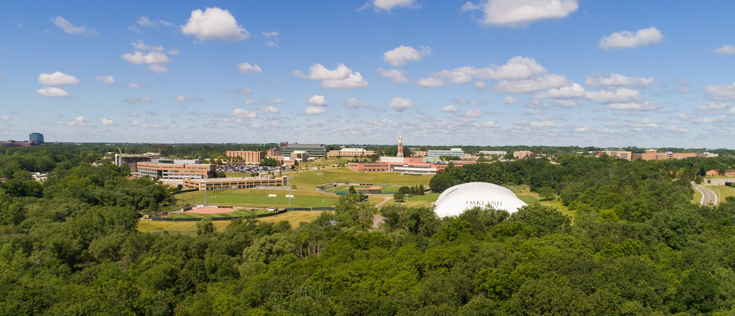 aerial photo from a distance of O U campus
