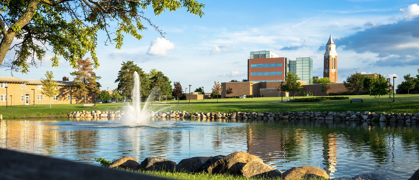 Oakland University campus, bear lake and Elliott Tower in the background