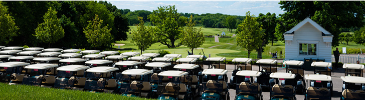 image overlooking golf course greens with a long line of golf carts in front