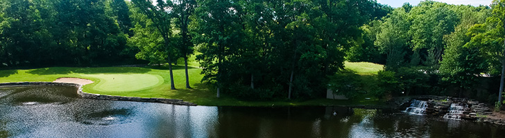 image of golf course greens with a lake and trees