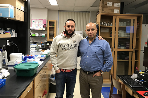 Gabriele Bigoni with Assistant Professor, Dr. Luis Villa-Diaz in a lab