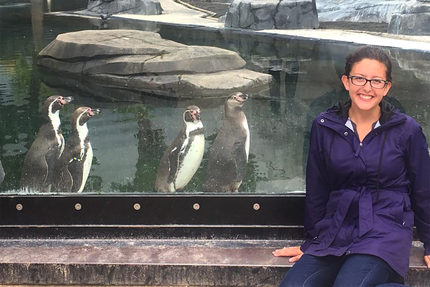 Amanda Lechnar with penguins