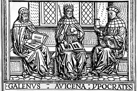 Black and white image of Galen, Avicenna and Hippocrates seated on a bench