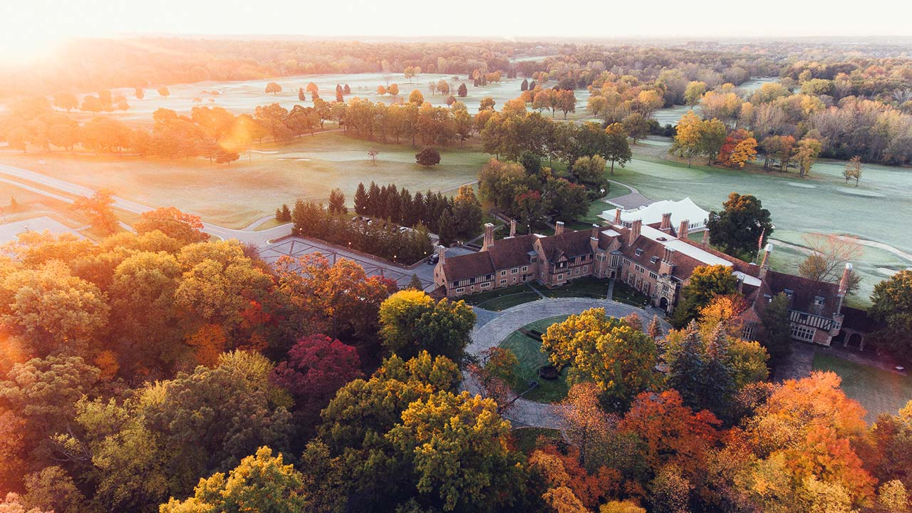 Aerial photo over Meadow Brook Hall