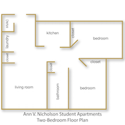 Ann V. Nicholson Student Apartments Two Bedroom Floor Plan with rooms labeled