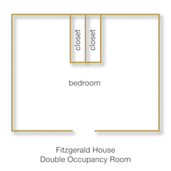 Fitzgerald House Double Occupancy Room floor plan with rooms labeled