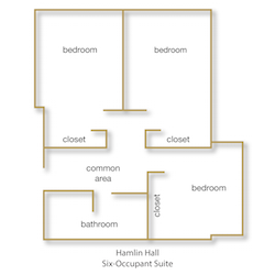 Hamlin Hall Six-Occupant Suite floor plan with rooms labeled
