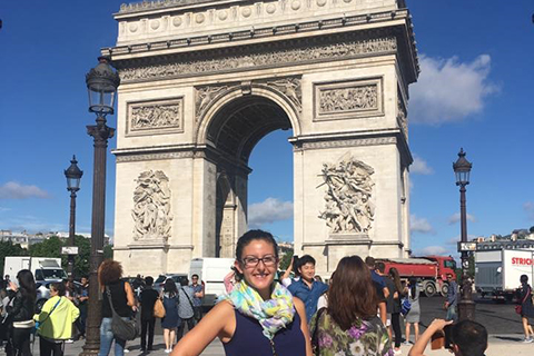 OU study abroad student standing in Paris, France.