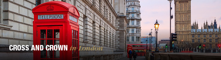 "image of London with a red telephone booth and the text ""Cross and Crown in London"""