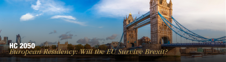London Bridge with blue sky and clouds beneath text: HC2050 European Residency: Will the EU survive Brexit?