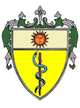 yellow shield with green ivy around it, a sun and a medical staff with snake symbol on it
