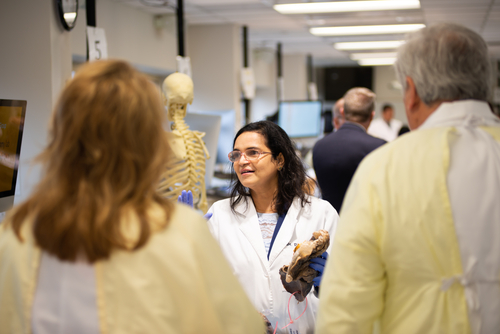 An image of Dr. Tarankanti in the OUWB anatomy lab