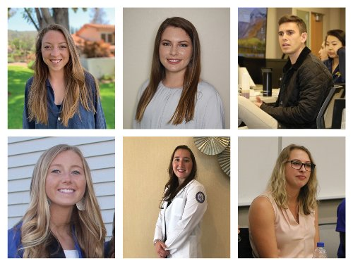 An image of the six students named outstanding for 2019-20 at OUWB