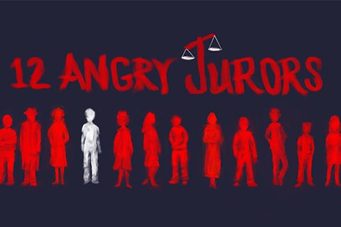 12 Angry Jurors written in red, 11 silhouettes of people in red, 1 in white