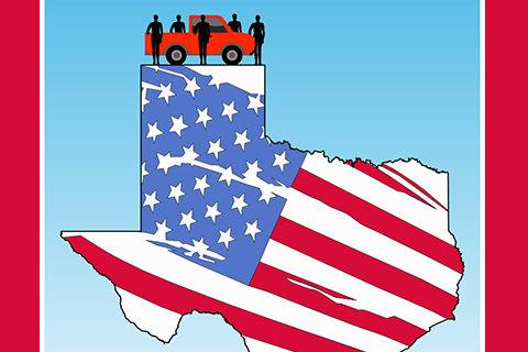 Red truck with 5 people in silhouette on top of a graphic of the state of texas with an american flag design
