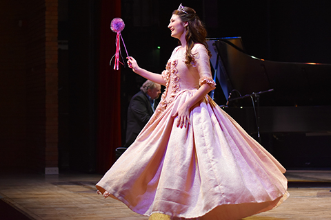 Woman dressed in pink gown with a tiara, holding a pink wand