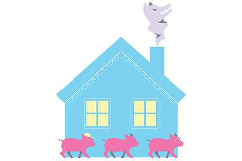 three pink pigs in front of a blue house with a wolf coming out of the chimney