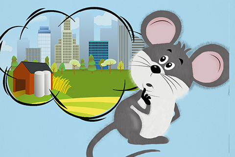 Artwork of a mouse looking at city buildings and a barn