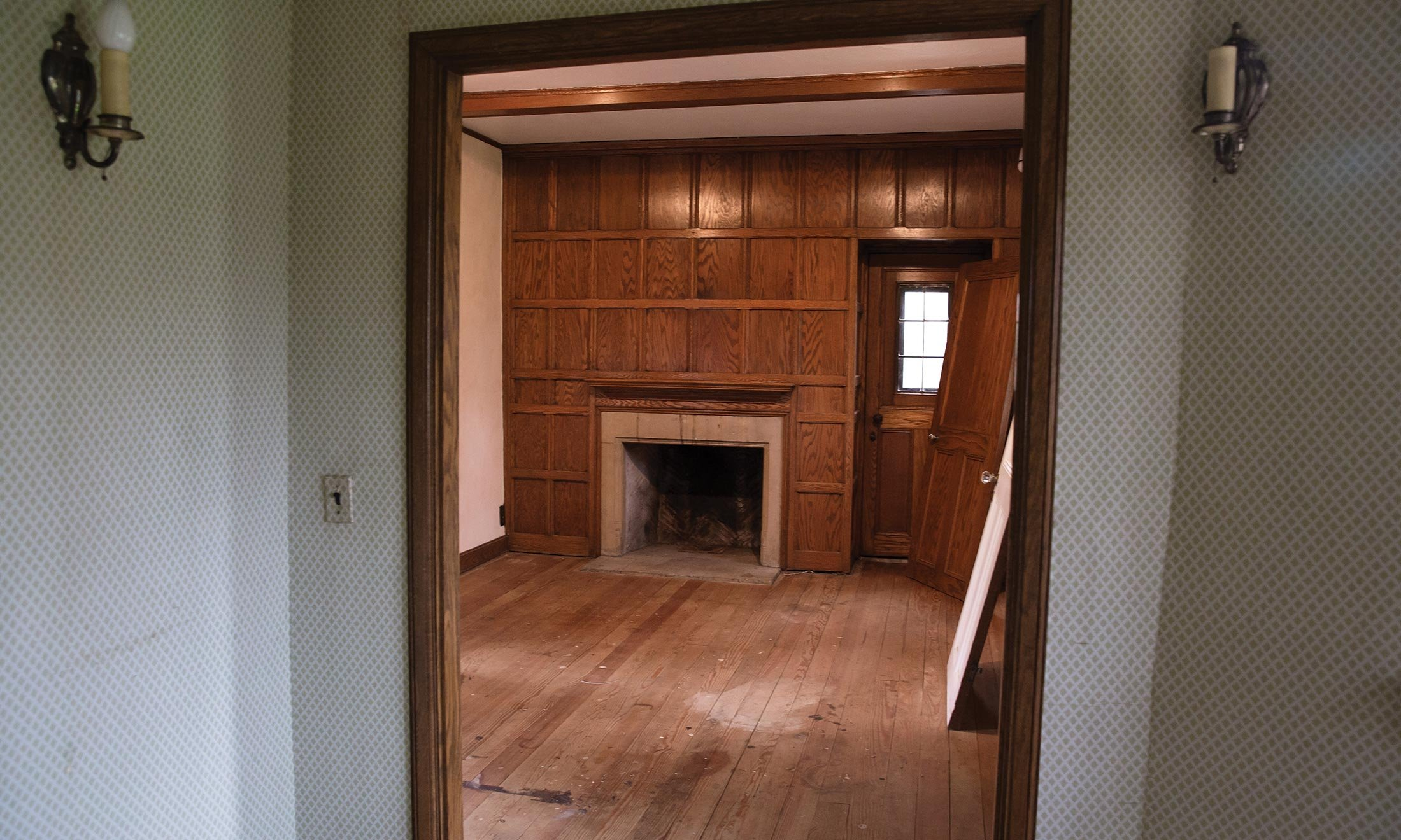 Inside the living room under construction in Knole Cottage on the grounds of the Meadow Brook Estate at Oakland University