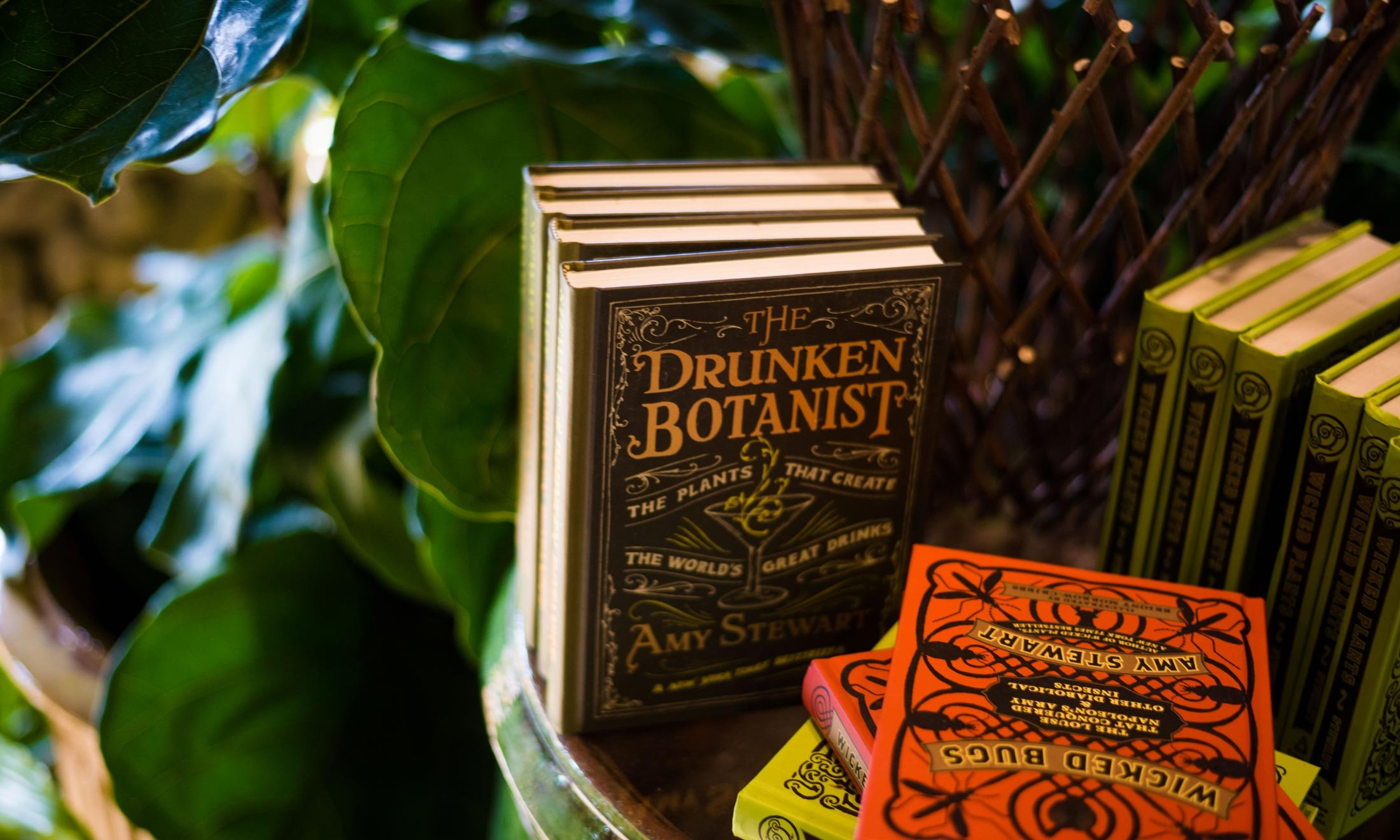 Casual reading for the casual gardener inside the Garden Shoppe at fleurdetroit - Books on a table