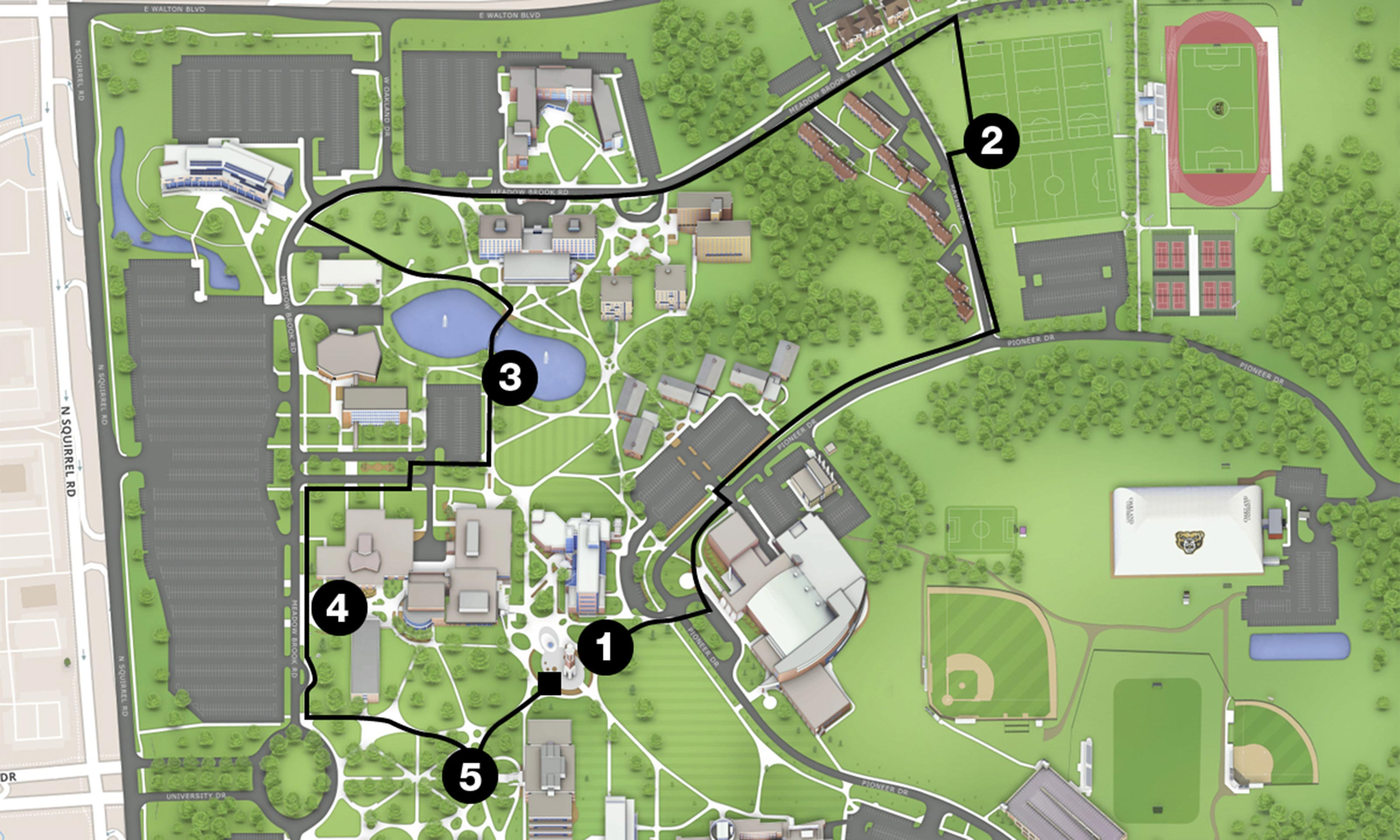 grizz grind  around campus  summer   ou magazine  oakland  - k course route at oakland university in rochester hills