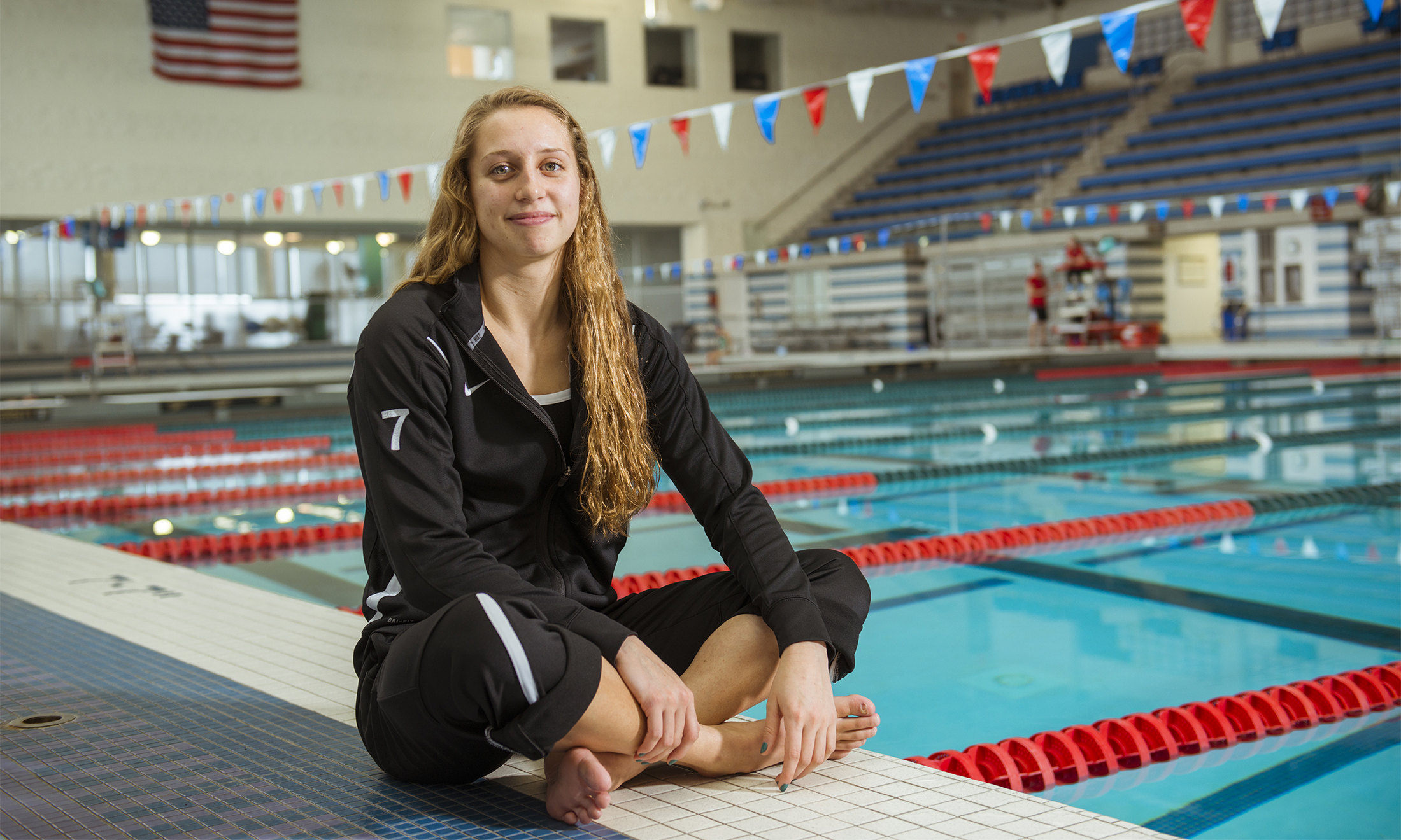 Oakland University swimmer Holly Morren in the O'Rena