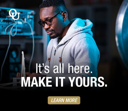 Link to explore oakland university webpage. Text reads - It's all here. Make it yours. Learn More.