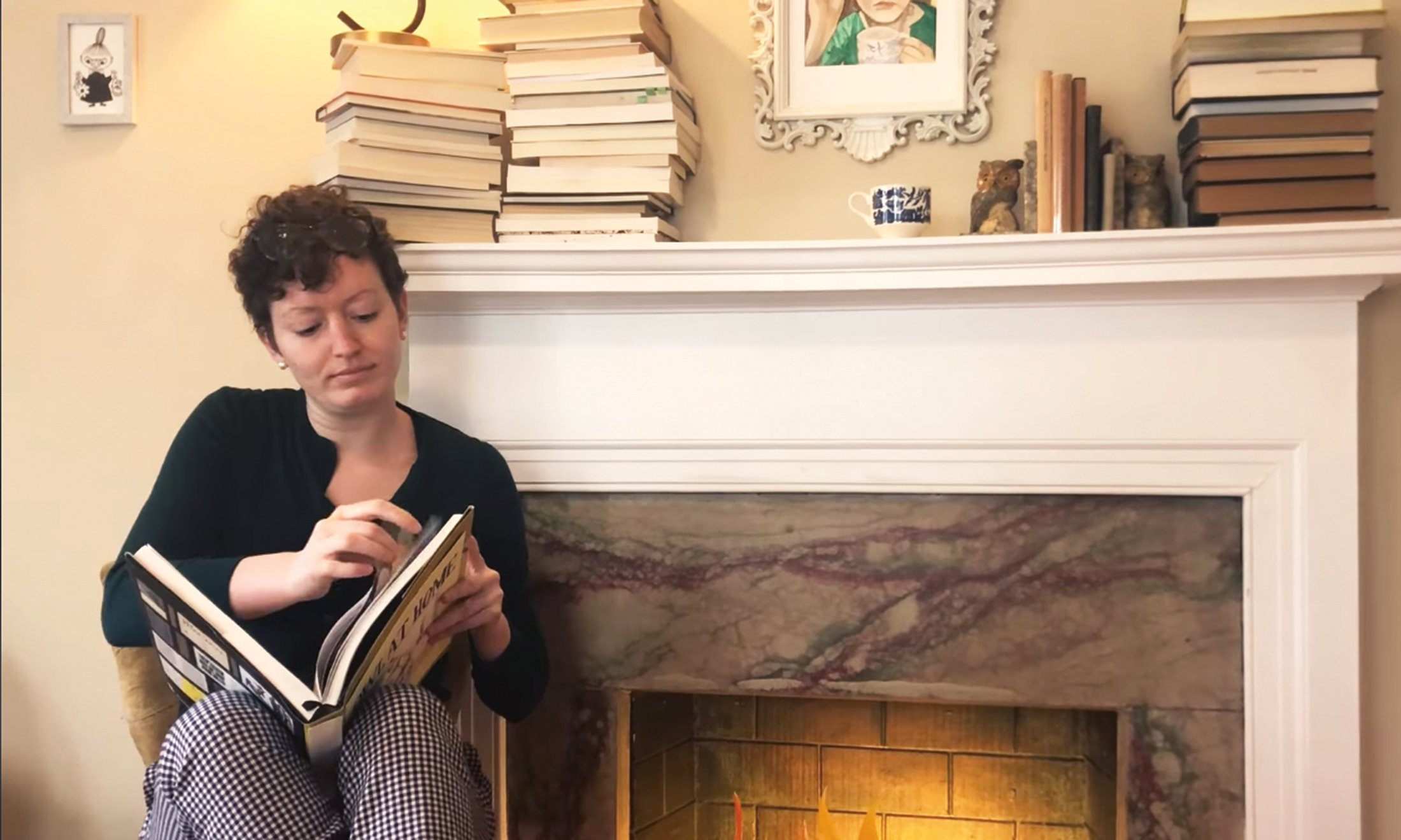 A woman reading.