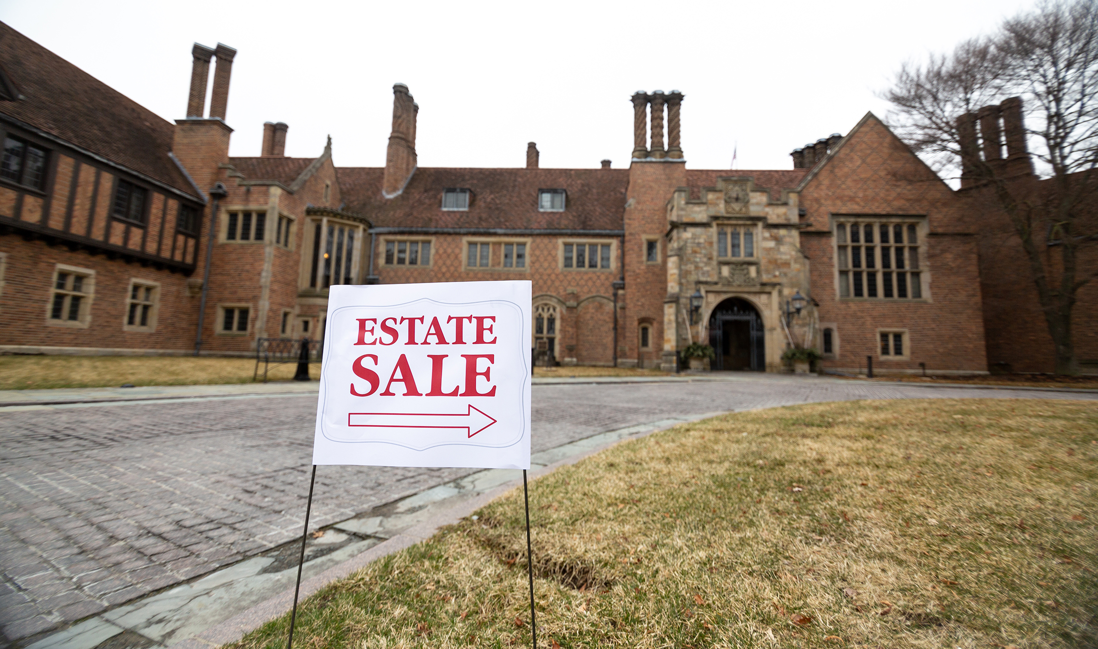 estate sale sign in front of meadow brook hall