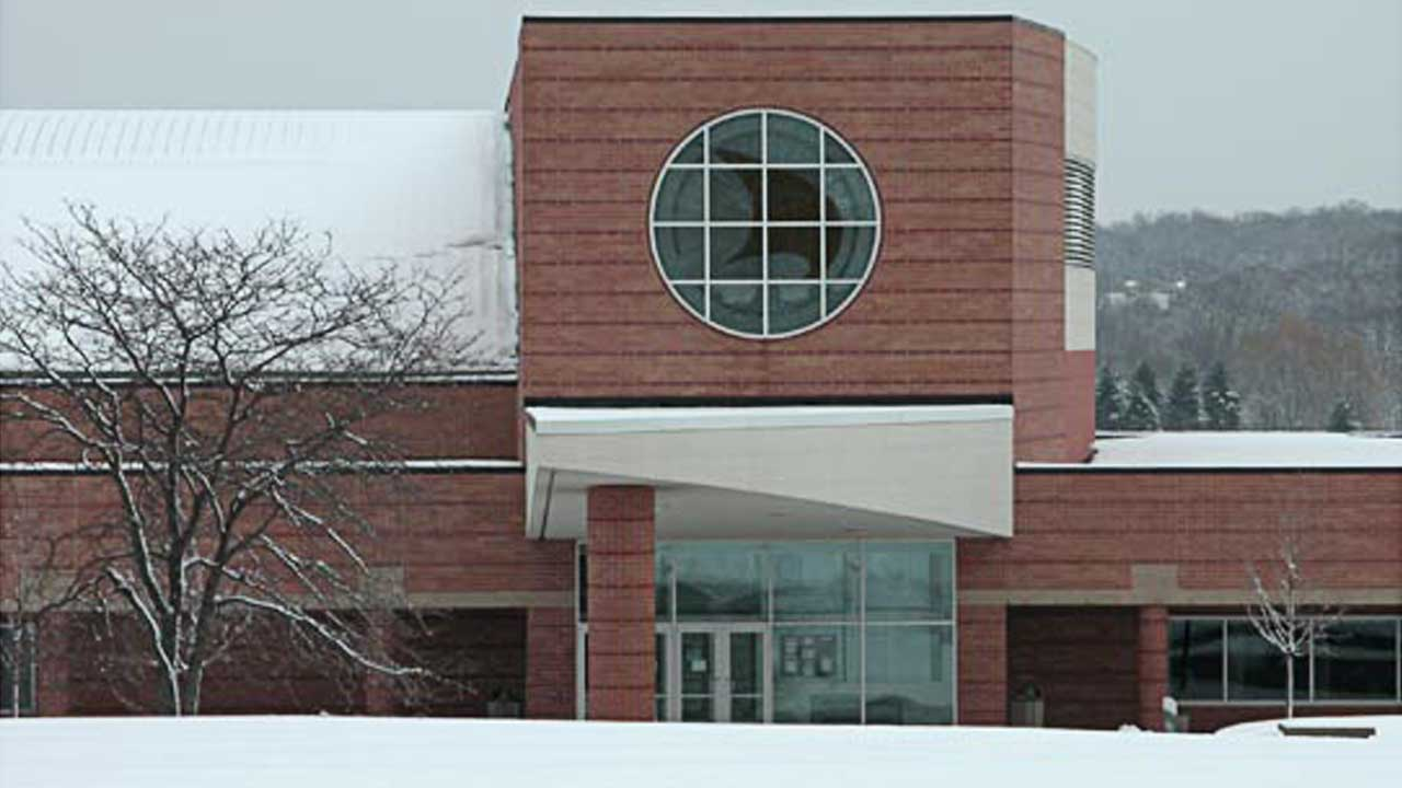 The Recreation Center and Aquatic Center covered in snow at Oakland University