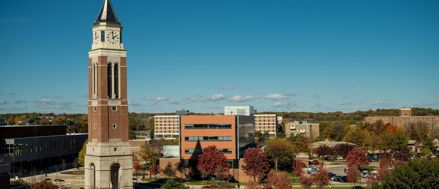 Oakland University's campus, featuring Elliott Tower in the front.