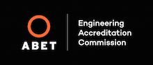 A B E T Engineering Accreditation Commission logo, red circle on a black background