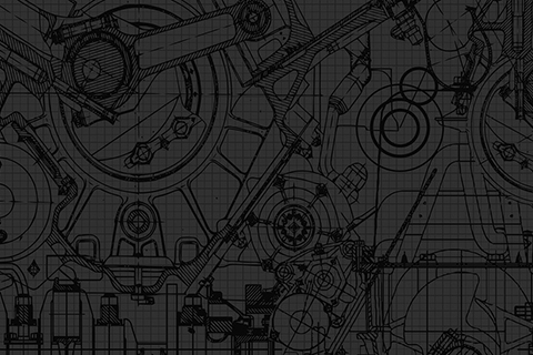 Black graphic drawing of mechanical gears