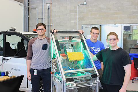 Members of the OU robotics team: Anthony Calandra, president; Nick Neumeyer, vice president; and Brandon Kujawa.