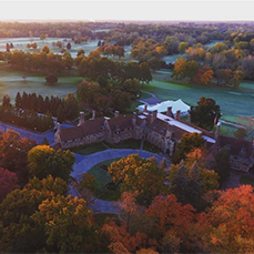aerial view of Meadow Brook estate in the fall