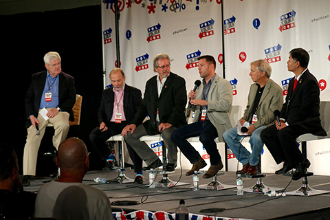 Hale, third from right, speaks to the crowd at Politicon in Los Angeles about easing vets' transition from the military to college. Joining him on stage (from left to right) is former Speaker of the H