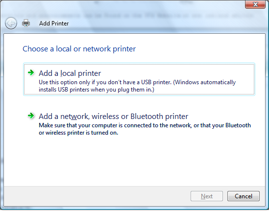 installing a network printer with local drivers